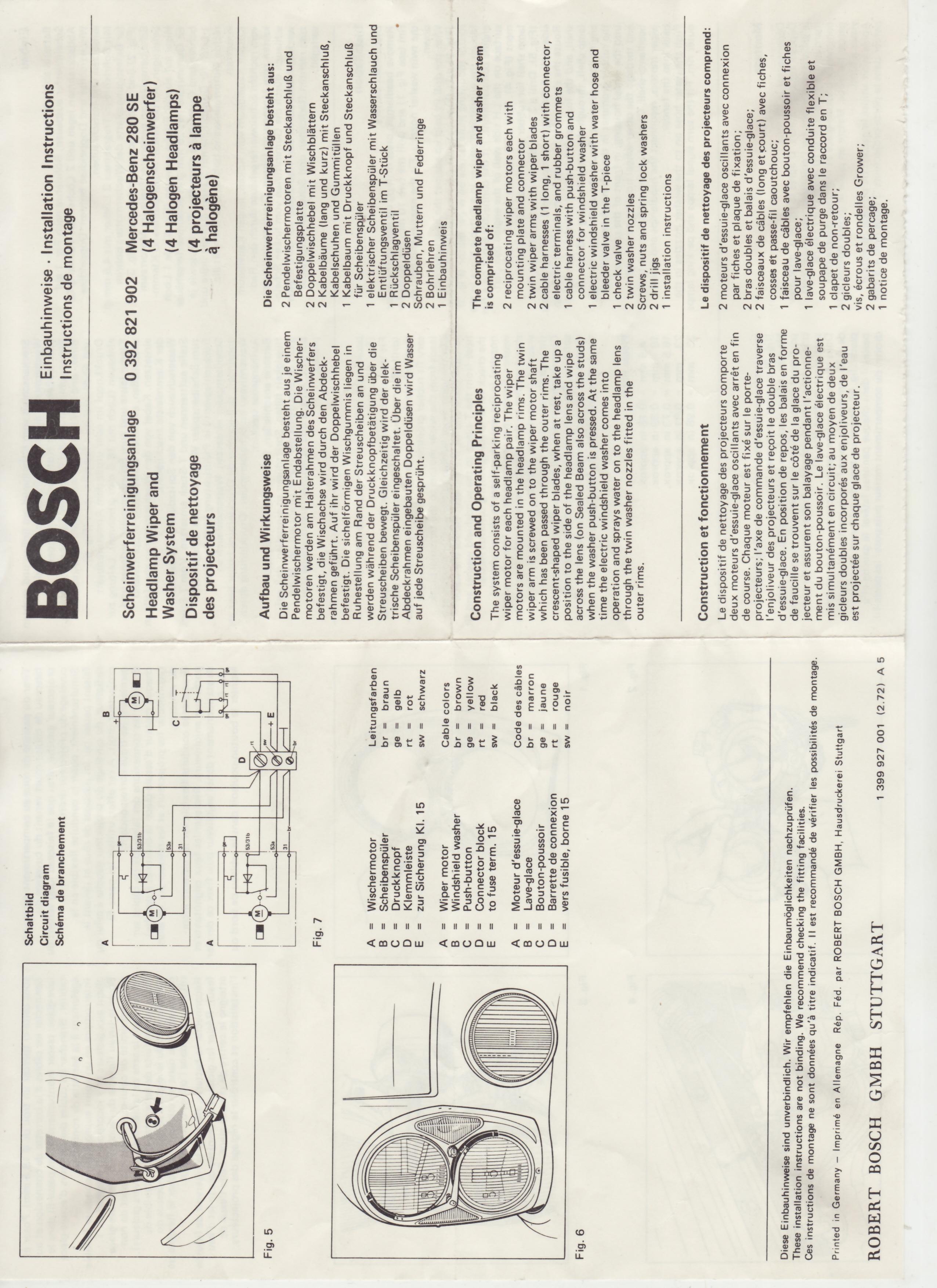 bosch scheinwerferreinigungsanlage einbauanleitung vdh. Black Bedroom Furniture Sets. Home Design Ideas